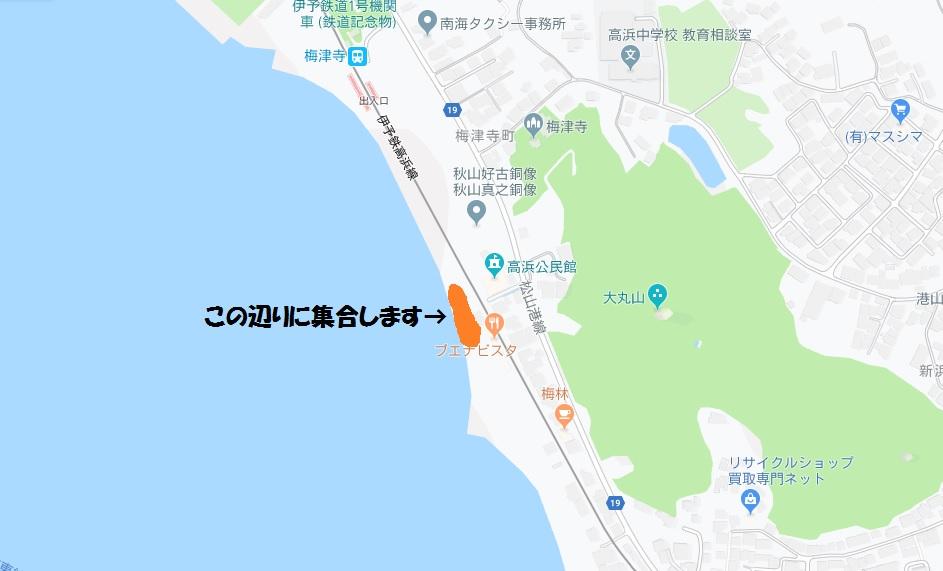 梅津寺ビーチヨガ開催場所の地図